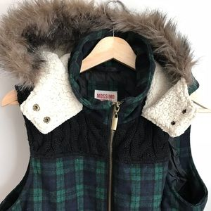 Mossimo Green & Black Hooded Winter Coat Vest